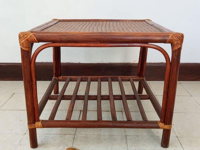 Table basse en rotin années 70