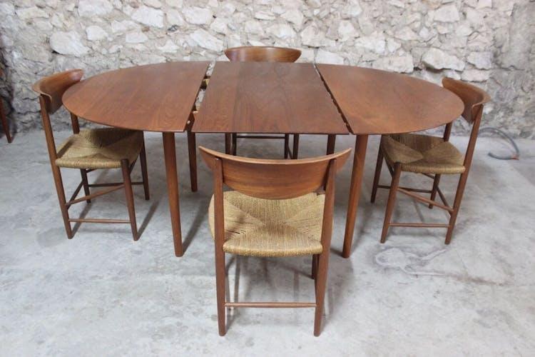 Table à manger en teck par Peter Hvidt & Orla Mølgaard Nielsen pour Søborg Møbelfabrik, Danemark