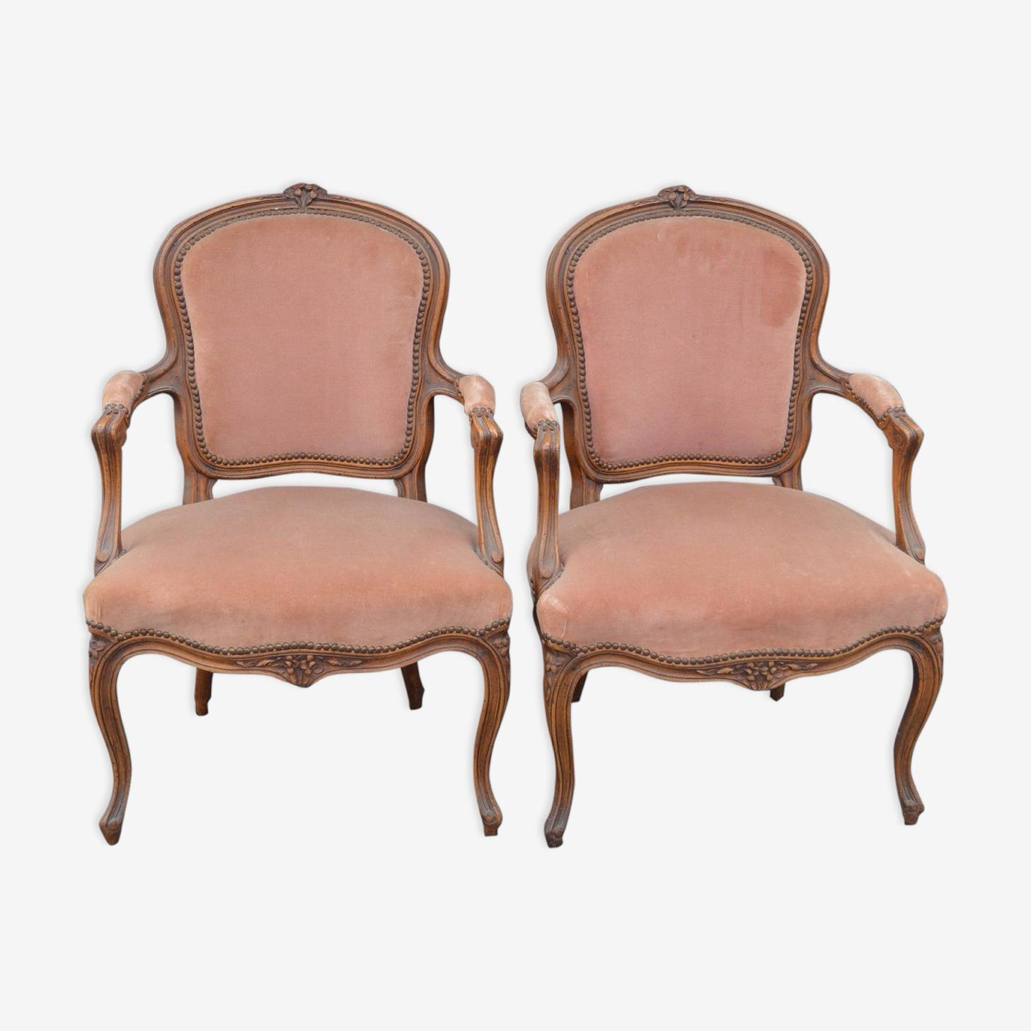 Paire de fauteuils bergères style Louis XV