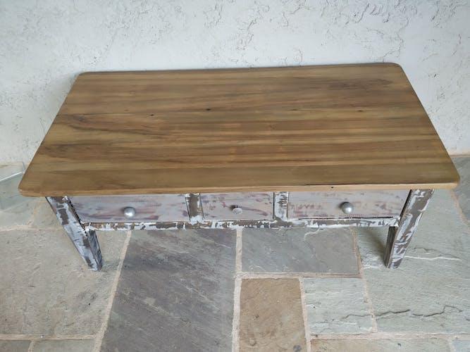 Former TABLE BASSE 3 TIROIRS patina cabinetmaker effect metal inDUS