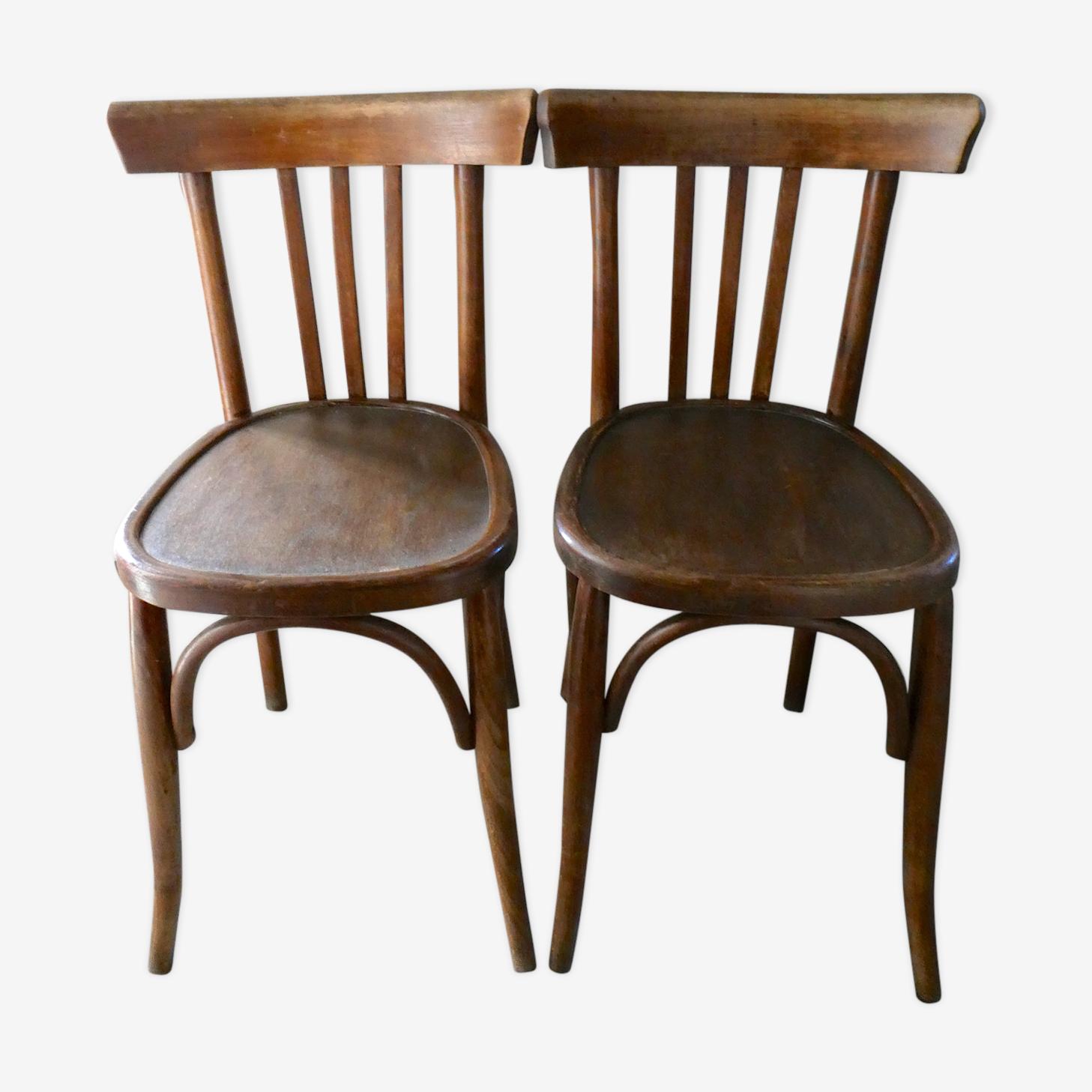 Paire de chaises de bistrot Mahieu en bois courbé