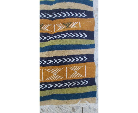 Tapis kilim traditionnel berbère fait main en pure laine 55x105cm