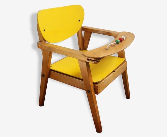 chaise pot b b ann es 50 bois mat riau jaune vintage 42076. Black Bedroom Furniture Sets. Home Design Ideas