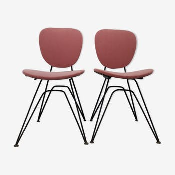 Pair of Chair of the 50s vintage pink with Eiffel base
