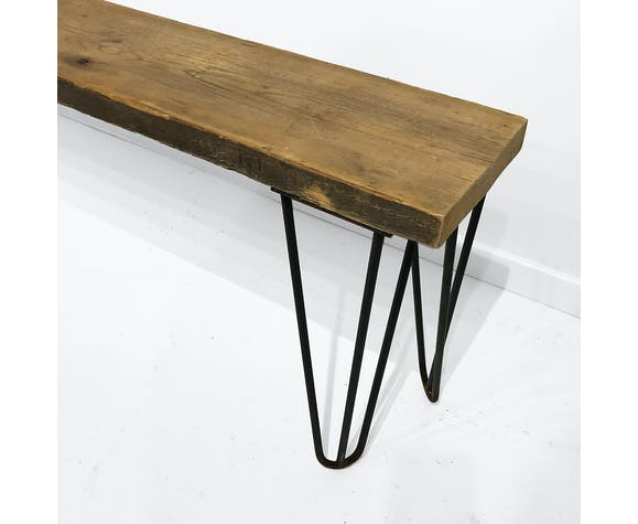 Industrial Bench With Hairpin Legs And Scaffolding Wood Midcentury Modern Inspired