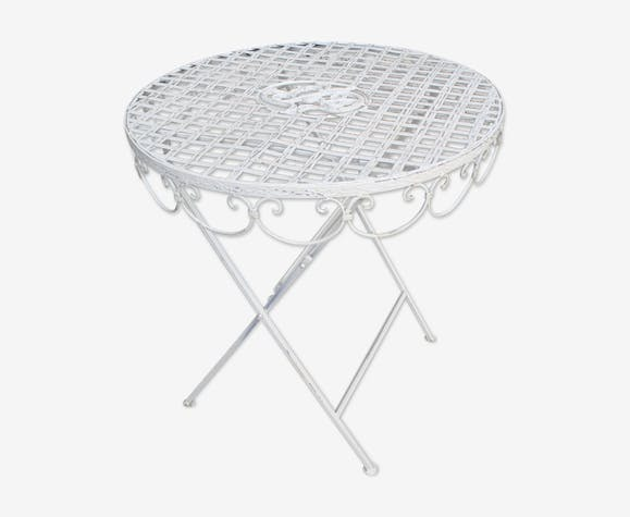 Table / Guéridon de jardin en fer forgé blanc - iron - white ...