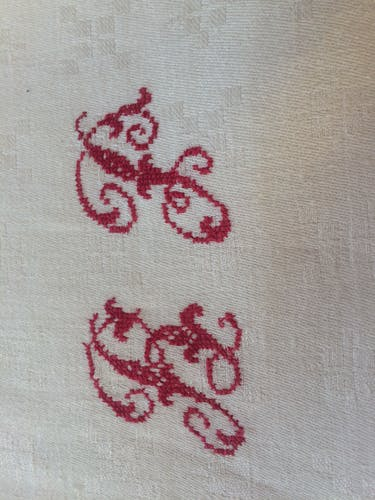 Lot of 14 white and old towels with red initials