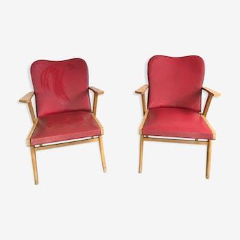 Paire de fauteuils bridge bornage des années 50