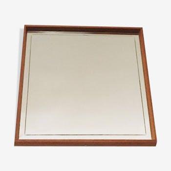 Illuminated Mid Century Modern teakwood mirror by Hillebrand 53x53cm