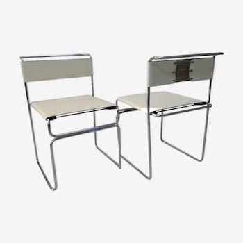 Paire de chaise en cuir 80'