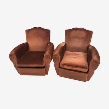 Velvet club chairs pair