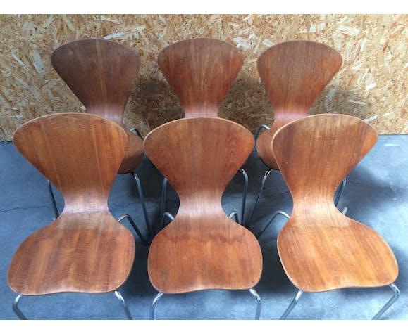Suite de 6 chaises danoises en teck