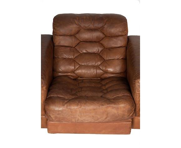 Ensemble de 2 fauteuils et repose-pied De Sede DS-P, Robert Haussmann 1960