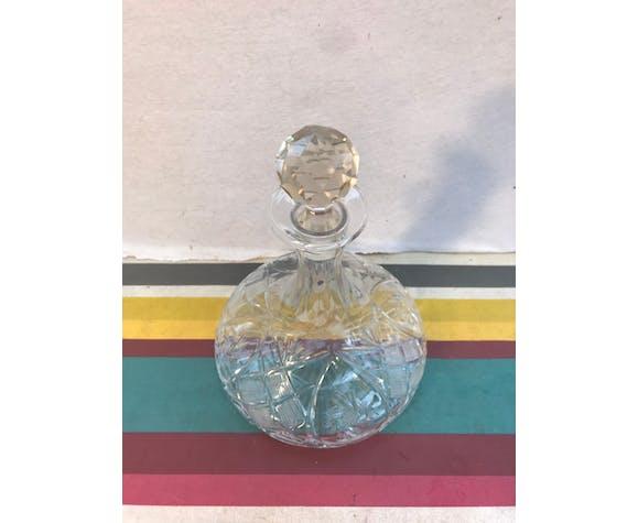 Ancien carafe à décanter cristal taillé + bouchon facetté décoration vintage