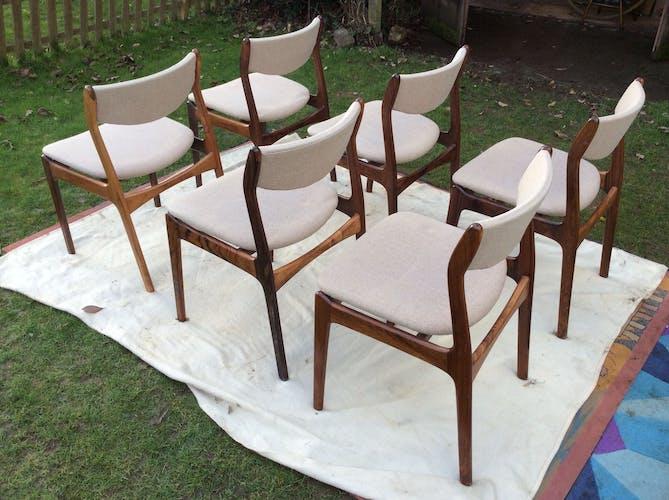 Six chaises palissandre nordic