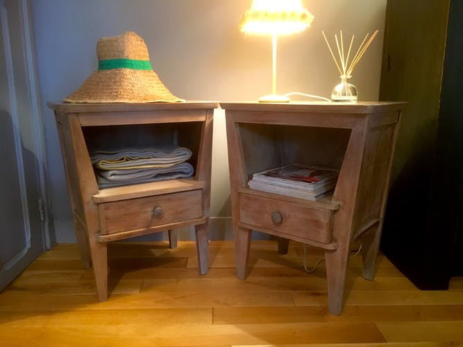 Pair of wooden bedsides