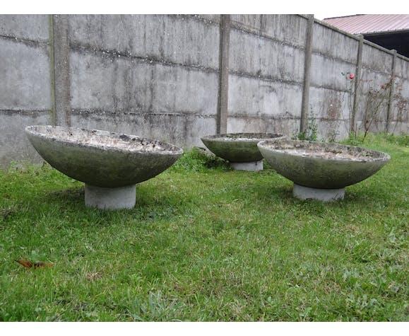 Série de trois jardinières en béton design René Pechère éditées par Eternit 1958