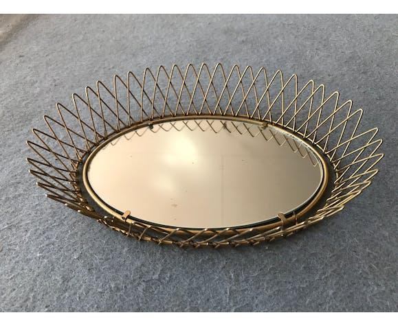 Sun metal mirror Golden small shabby chic vintage 1950
