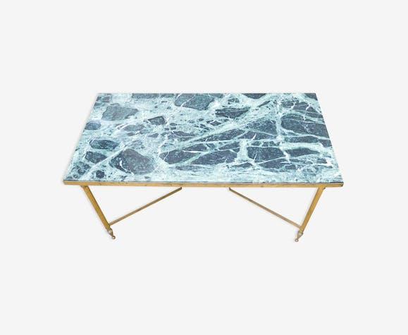 Table Basse Dessus Marbre Vert Pieds Laiton Marbre Vert