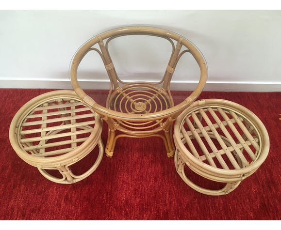 Vintage pouf  in rattan and bamboo