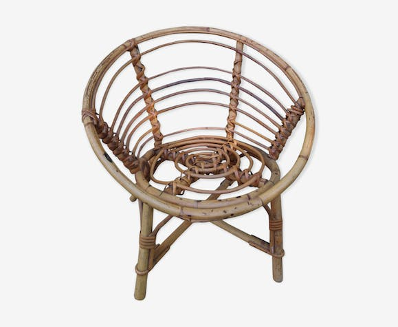 Child armchair in vintage rattan