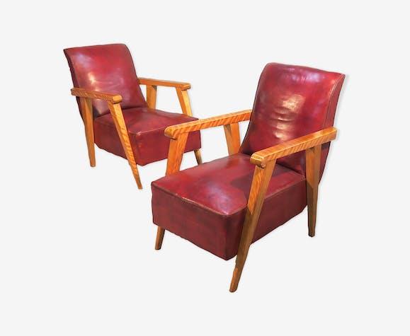 Paire de fauteuils cuir  art-déco