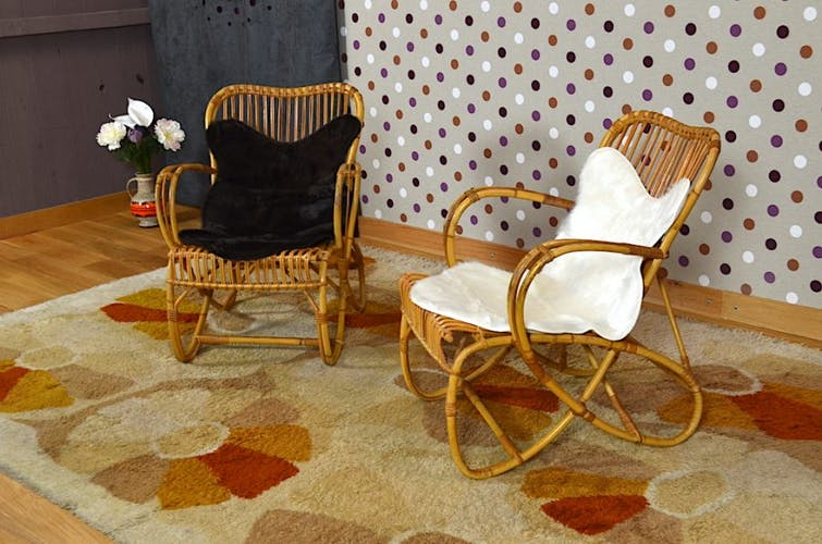 Pair of armchairs vintage rattan with skins