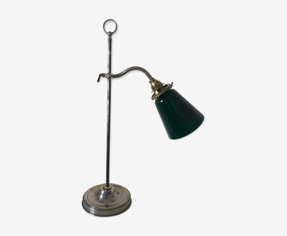 Lampe atelier laiton nickelé vintage 1930