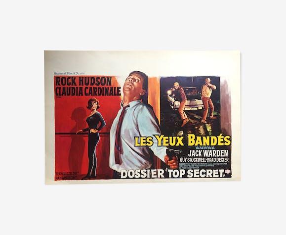 """Affiche cinéma """"Les Yeux Bandés"""" Claudia Cardinale, Rock Hudson 37x55cm 1966"""