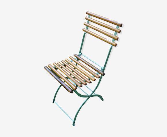 Chaise pliante originale fer et bois | Selency