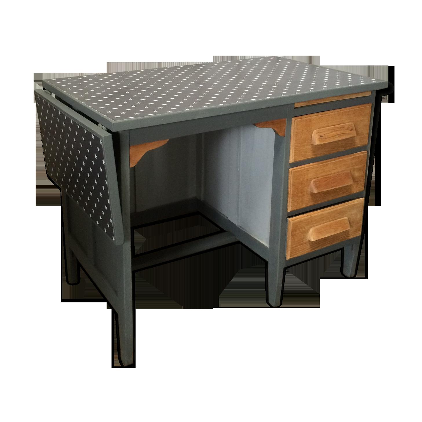 Bureau vintage taille enfant gris toile ciré étoile bois