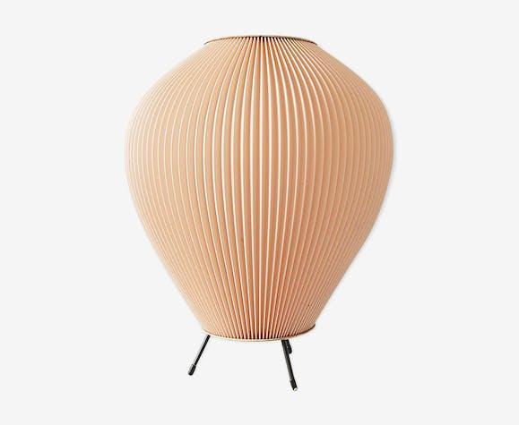 Lampe Cocoon avec abat-jour plissé rose éclairage 50 's