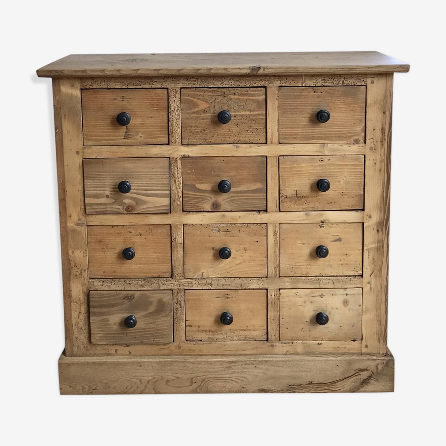 Meuble d'épicerie vintage à tiroirs en pin