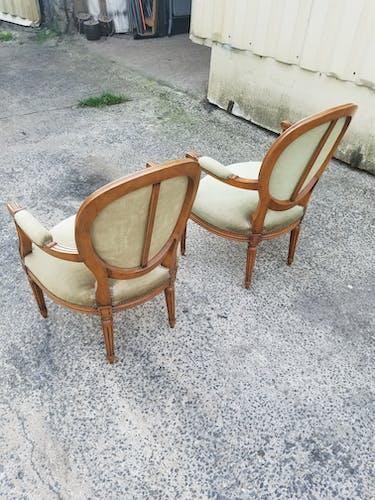 Paire de fauteuils médaillon