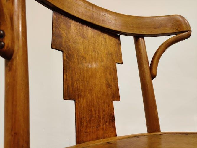 Ensemble de 4 chaises bistro vintage par Luterma, années 1920