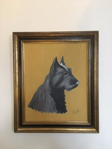 Portrait of black westie on canvas
