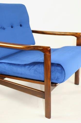Fauteuil bleu vintage de 1970 design par Z.Baczyk