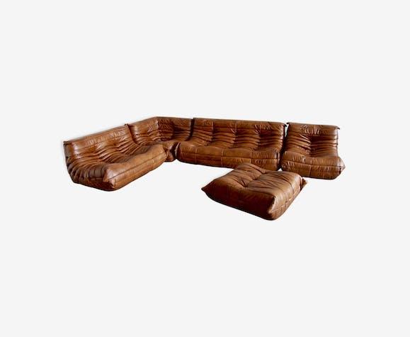 """Set de canapé """"Togo"""" en cuir par Michel Ducaroy pour Ligne Roset"""
