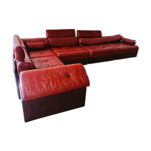Modular Sofa Ds 88 Leather Patchwork Burgundy And Brown Leather Burgundy Good Condition Vintage Bommpeb