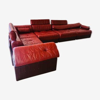 Modular sofa ds-88 leather patchwork burgundy and brown