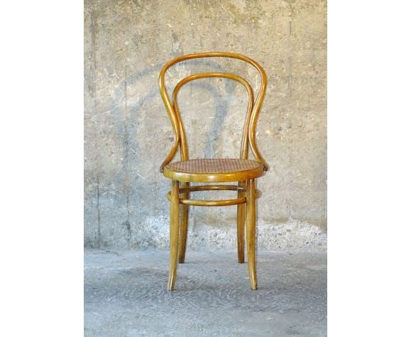 Set de 4 chaises bistrot vers 1900 cannées 2 Kohn 2 Thonet