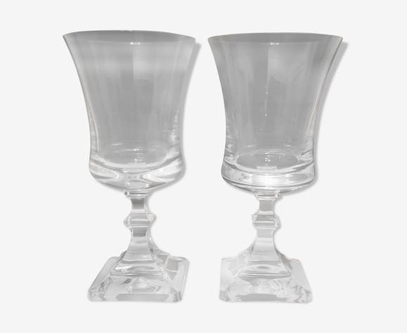 St. Louis crystal water glass duo 70s