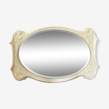 Miroir ancien biseauté en porcelaine blanche 81x54cm