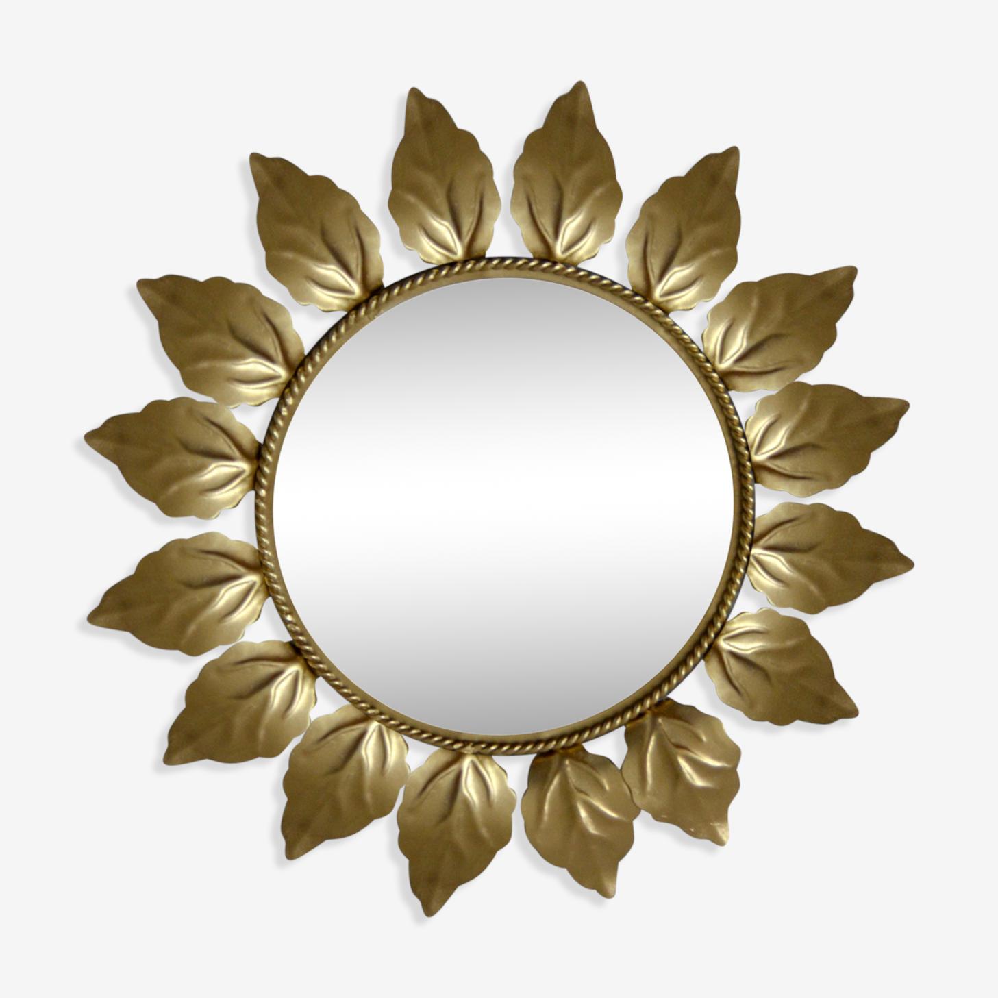 Miroir soleil en métal doré 42x42cm