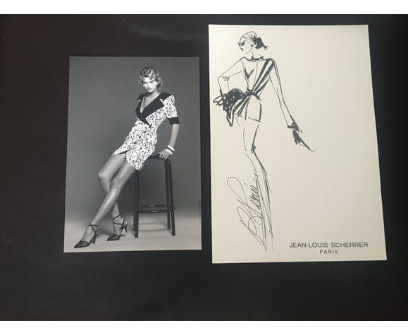 Jean-Louis Scherrer: fashion illustration - vintage press photo. 1991