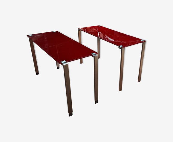 Tempered glass tables by Jean Nouvel for Cassina