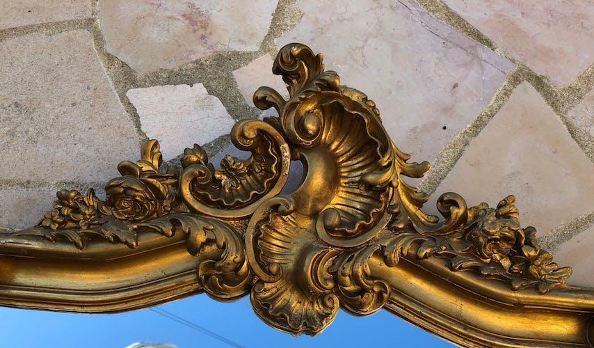 Miroir ancien en bois doré 125x79cm