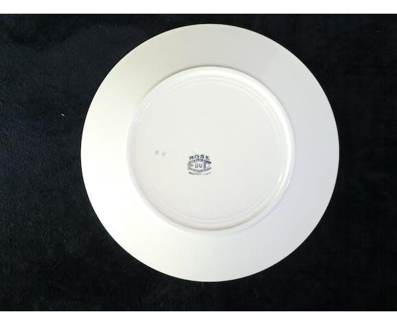 12 assiettes plates en faience de Badonviller modele rose bleu