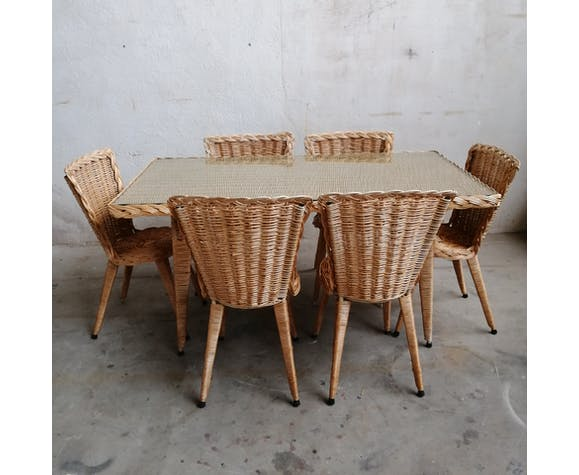 Rattan Dining Table And 6 Chairs Selency