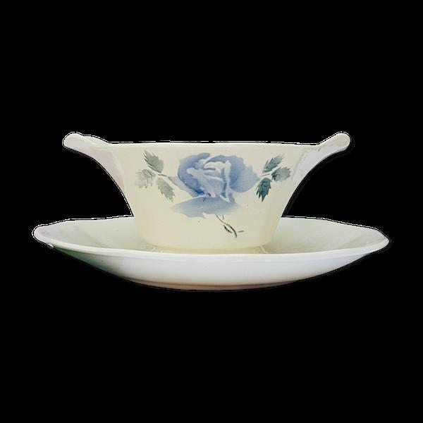 Saucière Digoin Sarreguemines motif de Rose bleu Porcelaine Modèle Cannes\